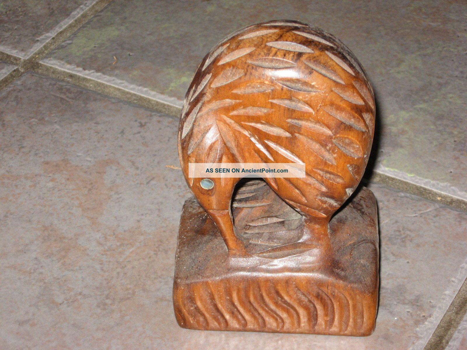 Vintage Wooden Carved Kiwi,  Nacre Mother Of Pearl Eyes 5.  5
