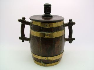 A Most Unusual 19th C.  Folk Art Coopered Barrel - Possibly Maritime Art. photo