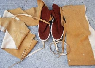 Contemporary Sw Indian Navajo Hide High Leg Moccasins - photo