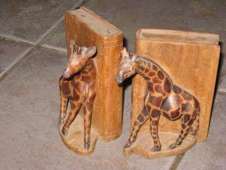 Vintage Hardwood African Giraffe Bookends 6