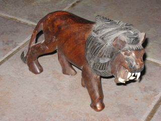 Vintage Hardwood African Male Lion: All His Own Teeth 6.  5