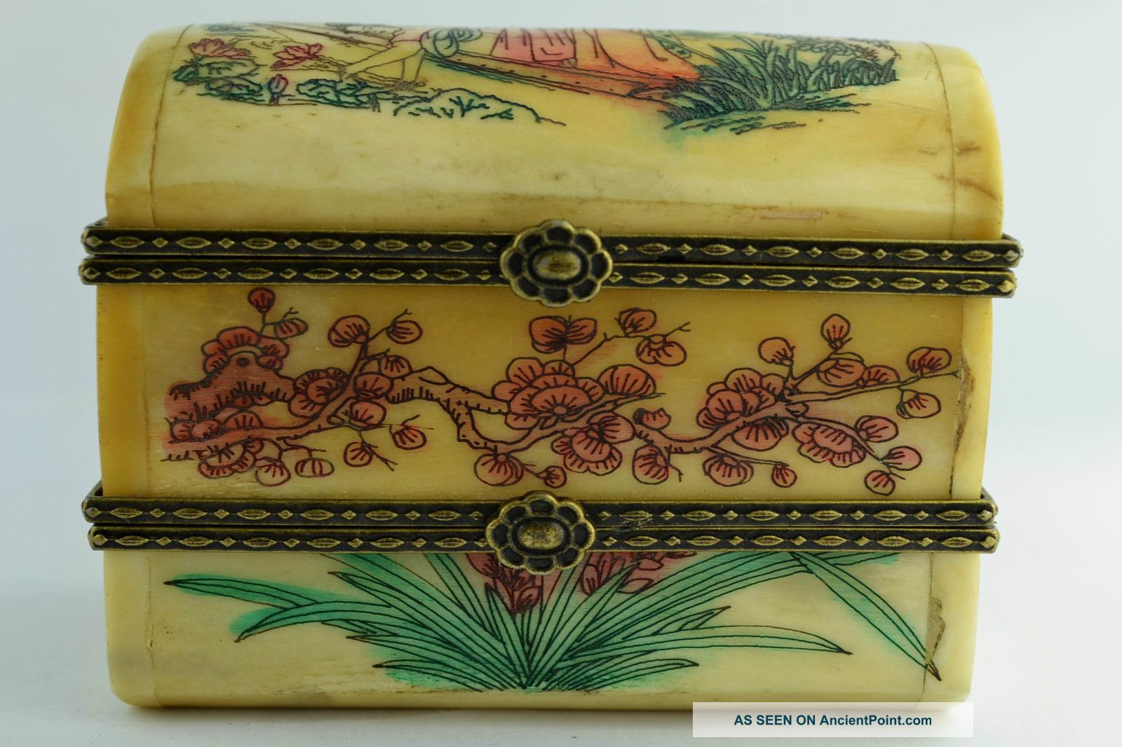 China Rare Collectibles Old Decorated Handwork Belle Flower 2 Layer Jewel Box ++ Pacific Islands & Oceania photo