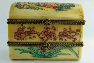 China Rare Collectibles Old Decorated Handwork Belle Flower 2 Layer Jewel Box ++ photo