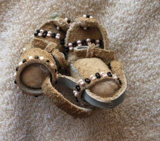 Contemporary Minature Beaded Hide Apache Moccasins photo