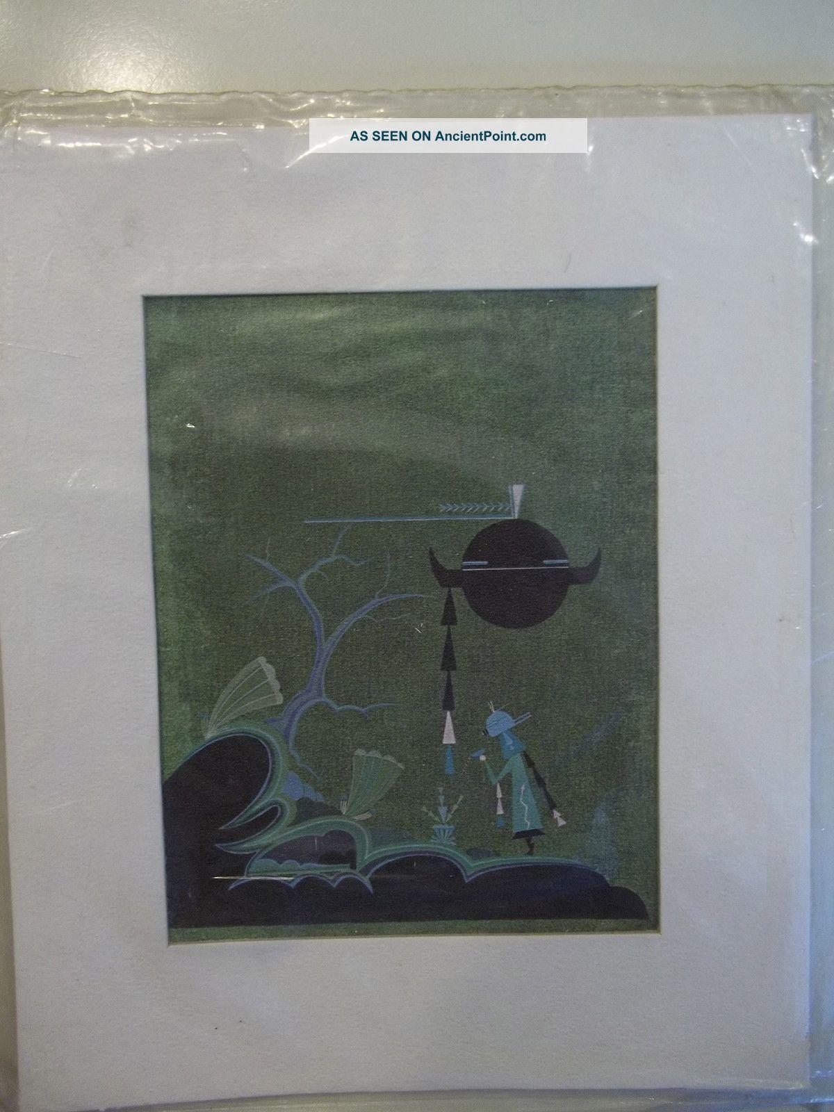 Vintage David Chethlahe Paladin Native American Art Print Lithograph Listed Native American photo