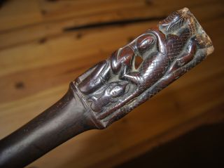 Fine Antique Silver Mounted Carved Wooden Batak / Dayak Tribal Staff / Stick Nr photo