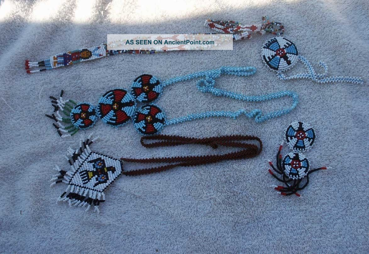 A Misc.  Box Lot - Necklaces And Rosettes - Fully Beaded Native American photo