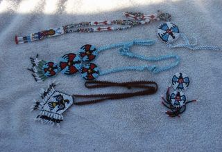 A Misc.  Box Lot - Necklaces And Rosettes - Fully Beaded photo
