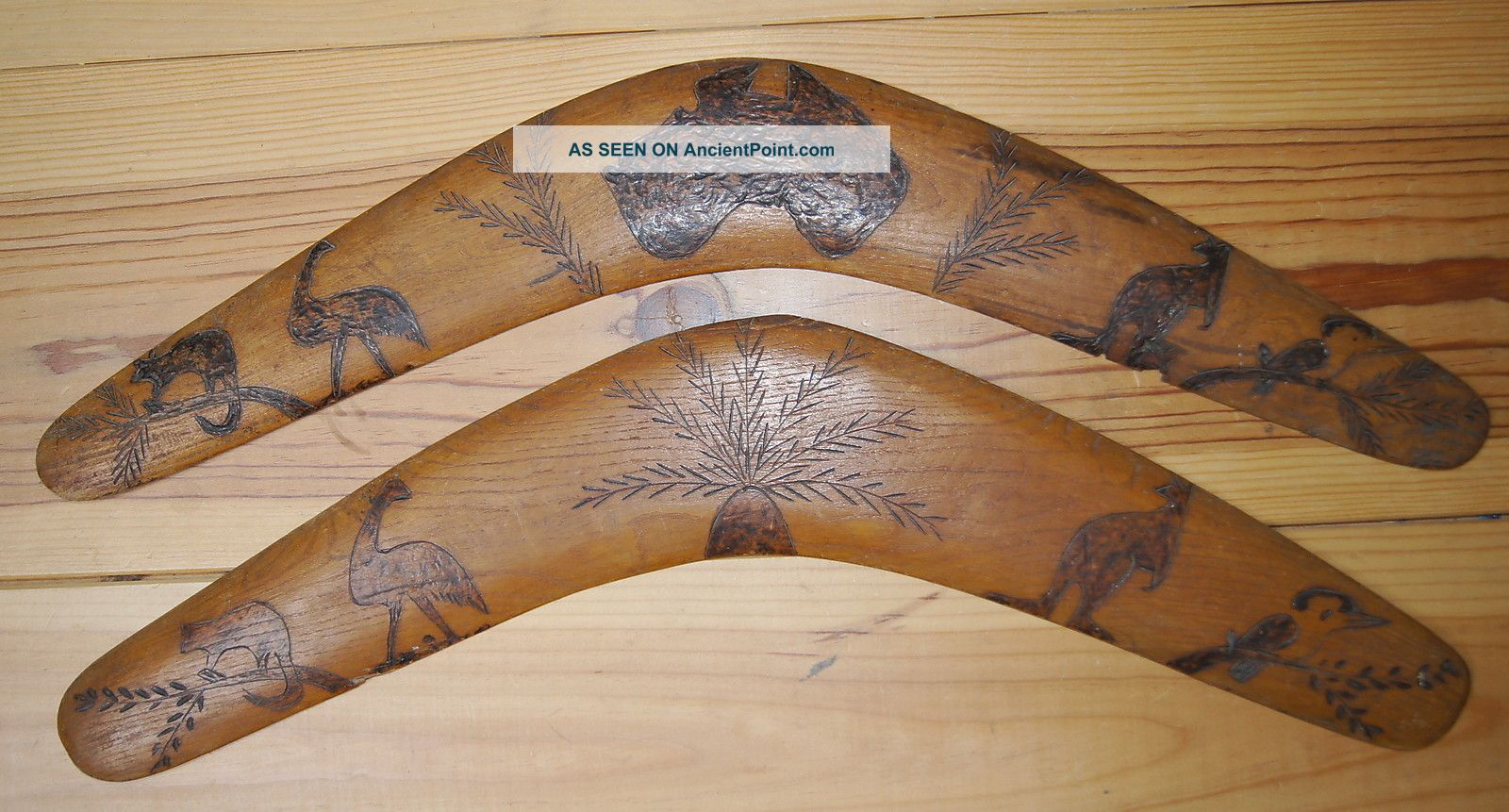 2 Lovely Old Antique Aboriginal Transitional Wooden Boomerangs W/ Pokerwork Pacific Islands & Oceania photo