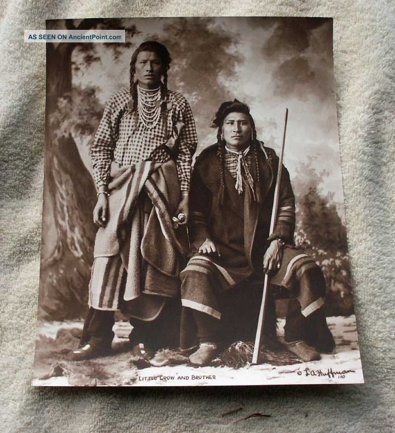 L.  A.  Huffman Sepia Photo - Little Crow And Brother From Plate Montana Native American photo