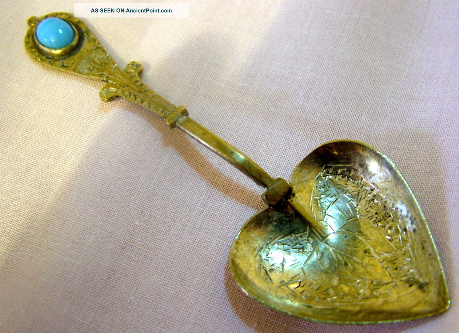 Vintage Hand Made Indian / Persian White Metal Spoon Set With A Blue Stone Other photo