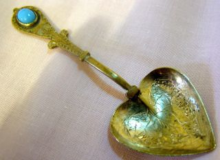 Vintage Hand Made Indian / Persian White Metal Spoon Set With A Blue Stone photo