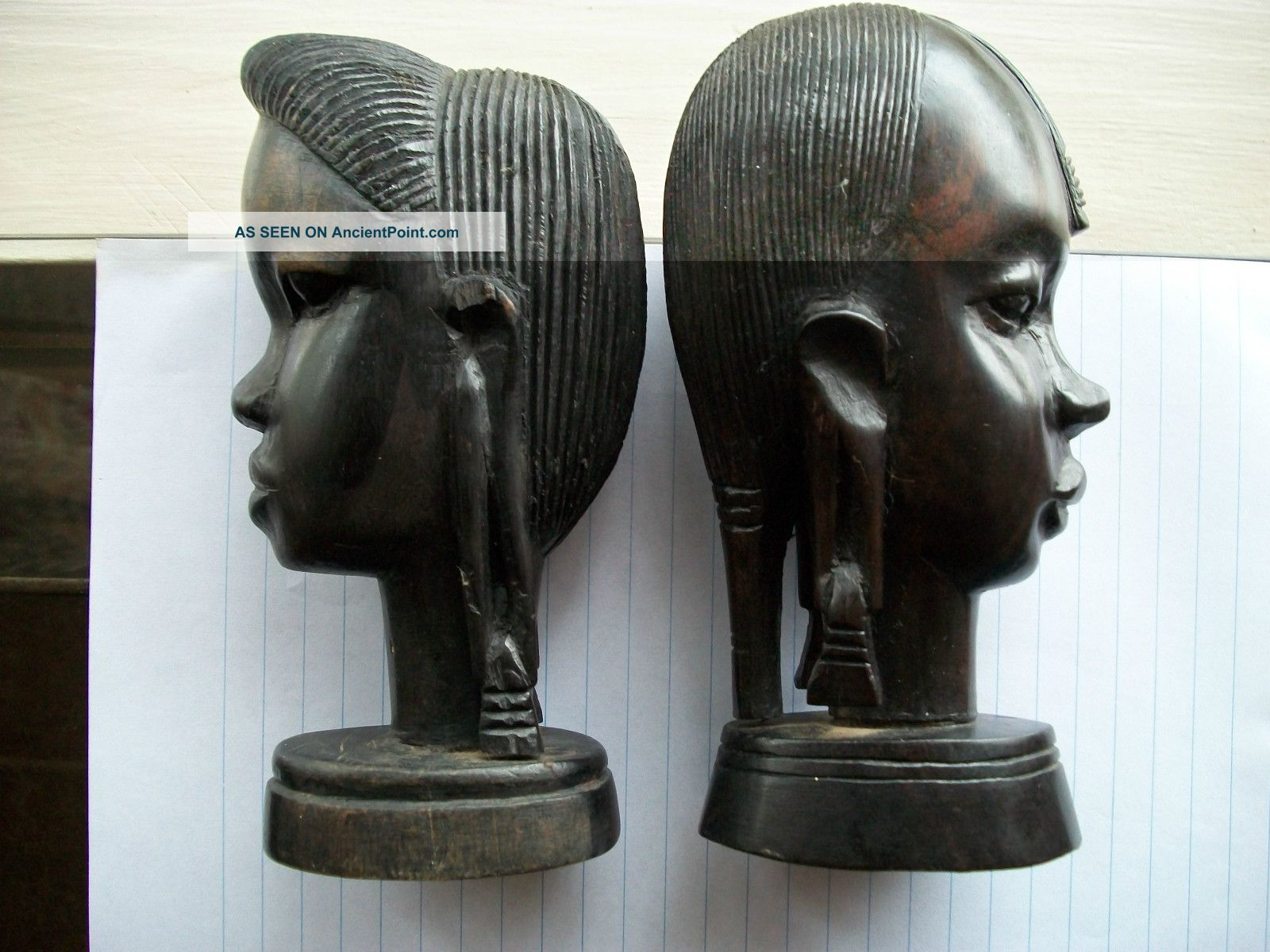 Antique Vintage African Tribal Hand Carved Wooden Pair; Women Elongated Earlobes Sculptures & Statues photo