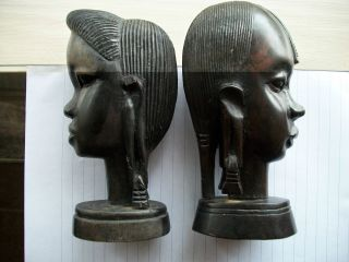 Antique Vintage African Tribal Hand Carved Wooden Pair; Women Elongated Earlobes photo