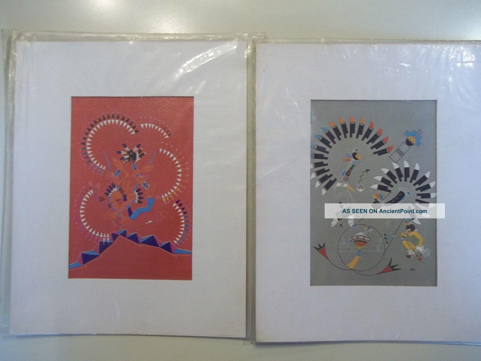 2 Vintage J Michael Standing Bear Native American Art Prints Saga Lithographs Native American photo