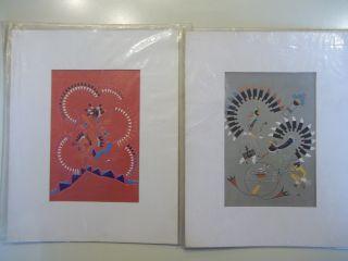 2 Vintage J Michael Standing Bear Native American Art Prints Saga Lithographs photo