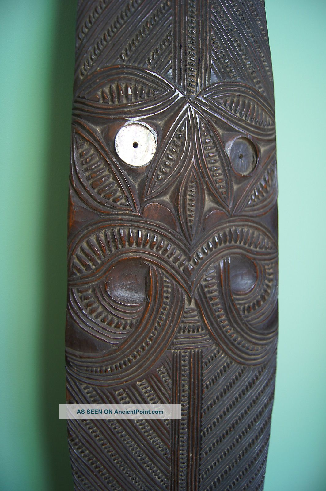 Exceptional Antique 19th C Maori Carved Wooden Paddle Hoe Club W/ Tikis 1.  69m Pacific Islands & Oceania photo
