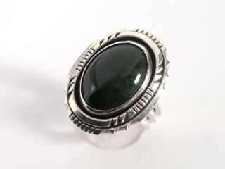 Navajo Chunky R.  B (running Bear) Sterling Silver Bloodstone Agate Ring photo