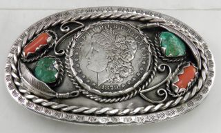 Authentic - Navajo Sterling,  Turquoise & Coral Belt Buckle By Douglas Harrison photo