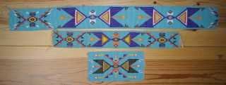 Fine Group Old Native American Indian Plains Beadwork Beaded Strips No.  2 photo