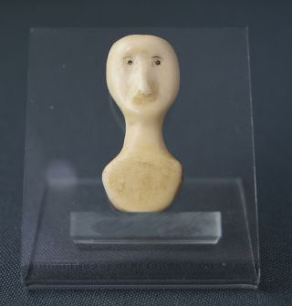 Fine Small Antique Eskimo Inuit Carved Caribou / Beef Bone Folk Art Head Nr photo