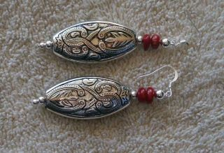 Pair Of Red Coral - Silver Plate Great Design Earrings - New Mexico - Contemporary photo
