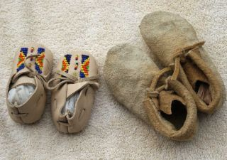 2 Two Pair Of Northern Cheyenne Hide Children ' S Moccasins One Beaded Montana photo