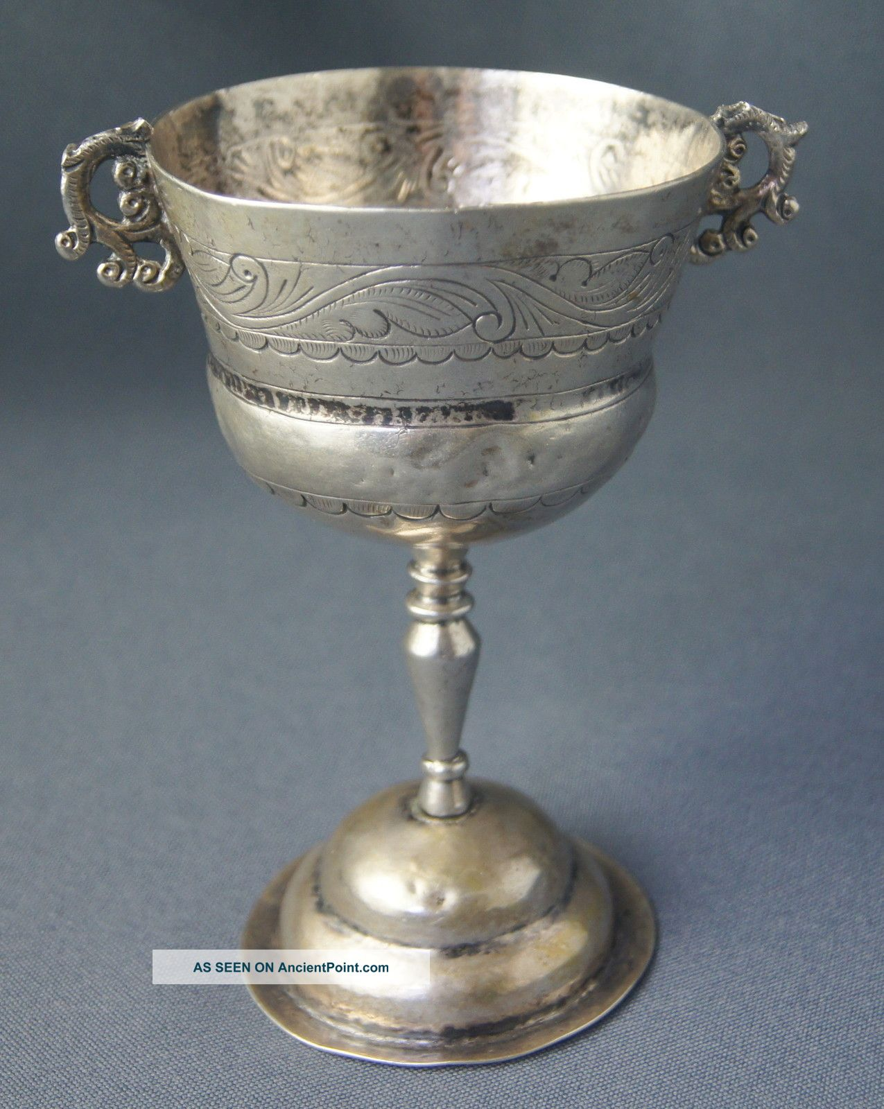 V Fine Antique 19th C Spanish Colonial Bolivian Solid Silver Cup / Goblet Nr Cups & Goblets photo