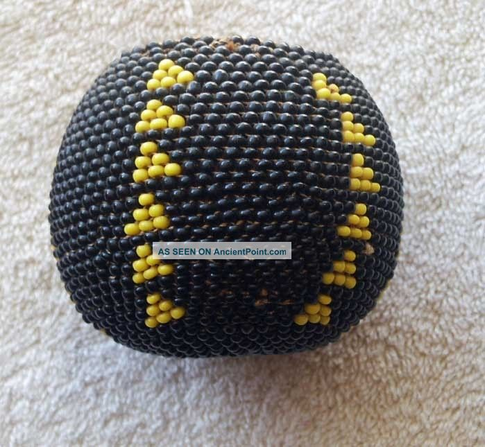 Paiute Indian Full Beaded Gourd Basket - Nevada - California - Black And Yellow Native American photo