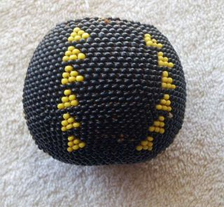 Paiute Indian Full Beaded Gourd Basket - Nevada - California - Black And Yellow photo
