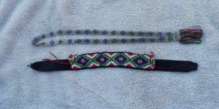 2 Two - Fully Beaded Sioux Native American Necklaces photo
