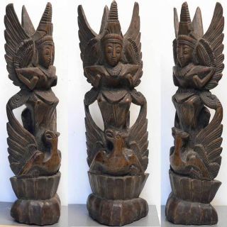 Antique Ancestor Statue Bali Indonesia Ancestral Tribal Art Keris Hindu Garuda photo