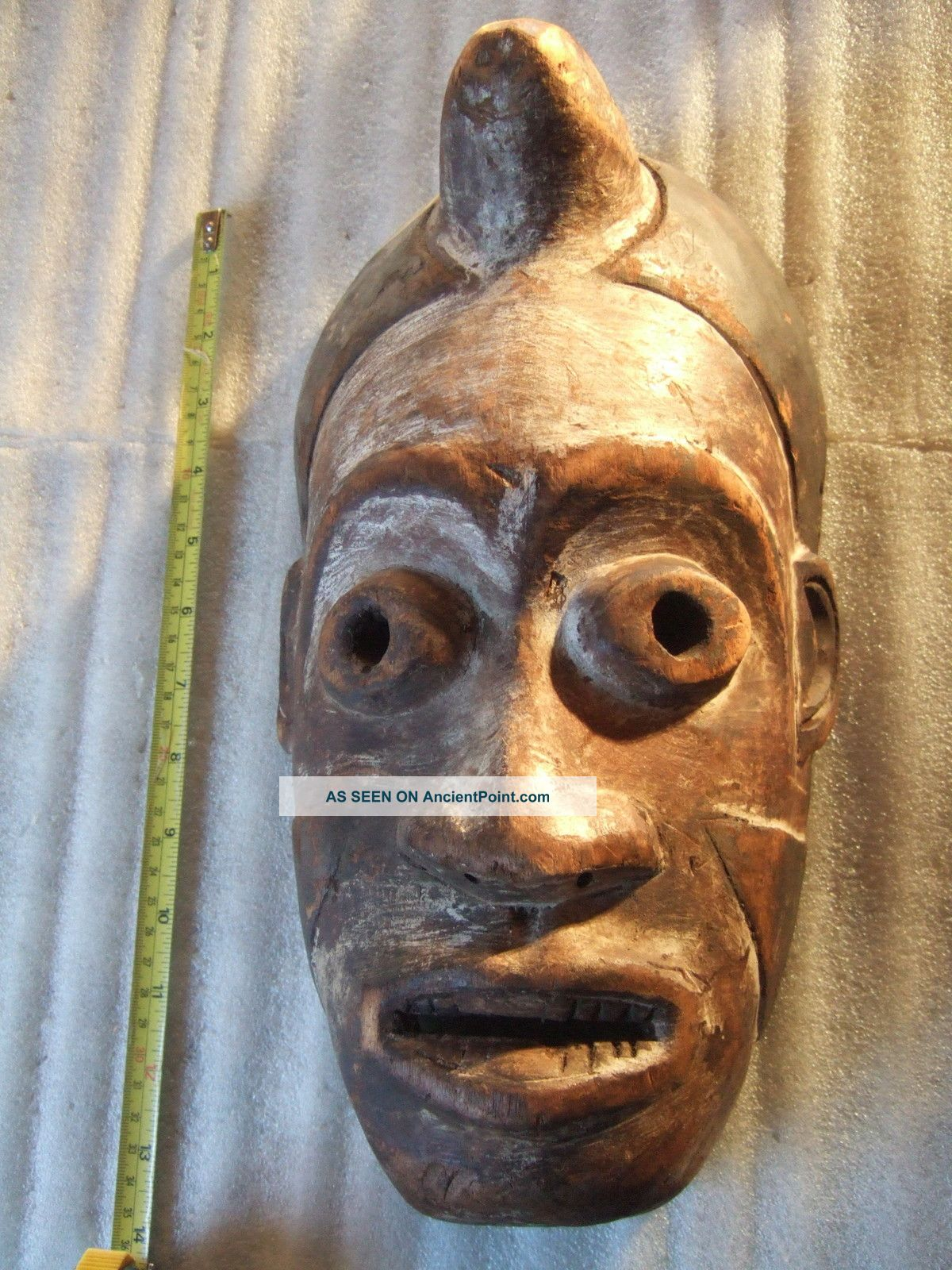 Antique Carved Wooden Native Tribal Mask With Horn African Polynesian? Other photo