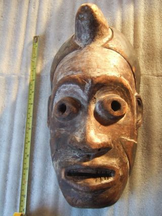 Antique Carved Wooden Native Tribal Mask With Horn African Polynesian? photo