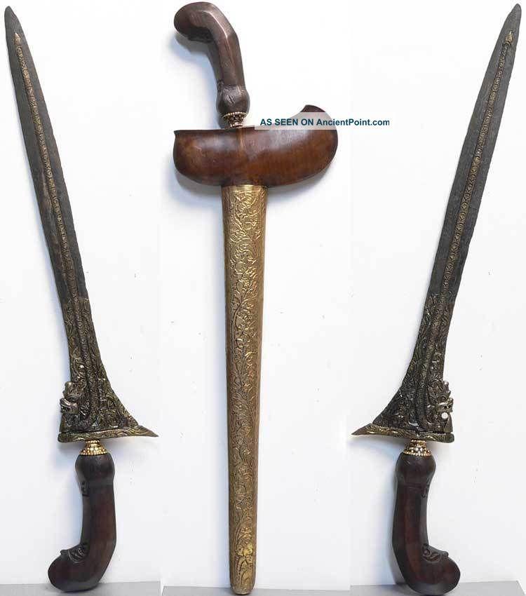 Antique Kris Keris Kriss Naga Dragon Tribal Art War Blade Kraton Sword Indonesia Pacific Islands & Oceania photo