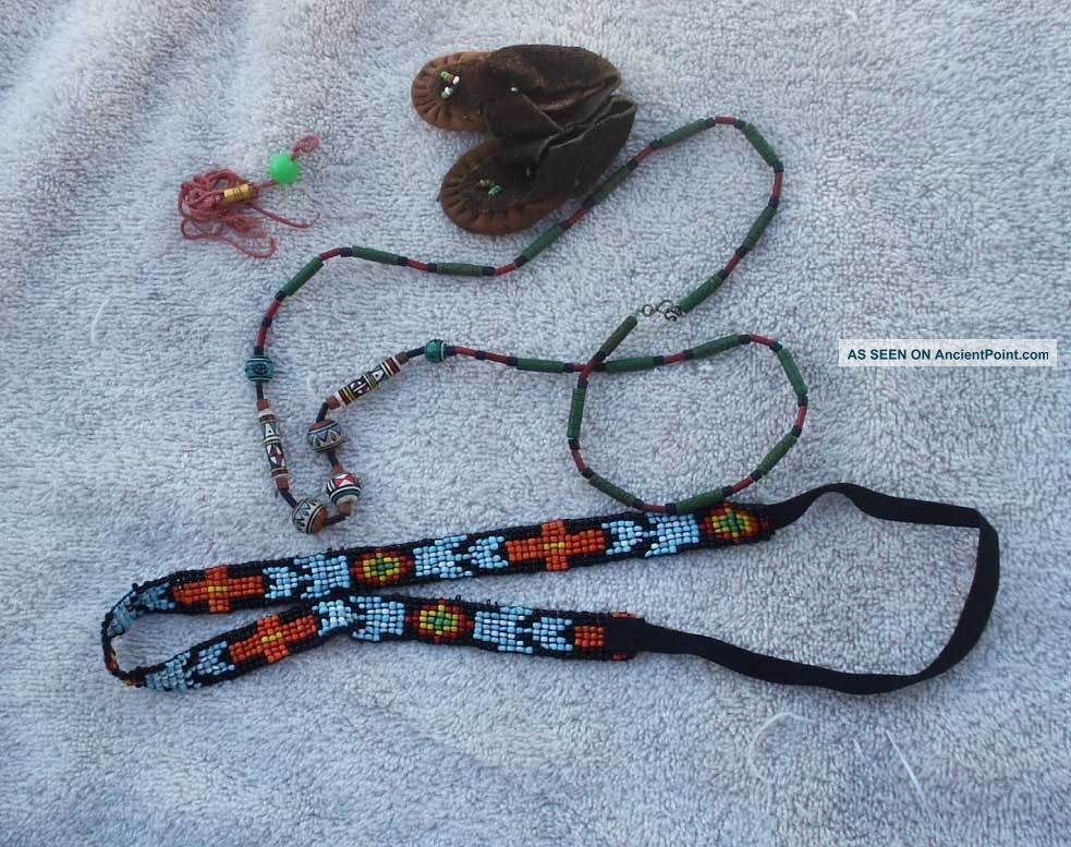 Beaded Items - Hide Doll Moccasins,  Trade Bead Necklace,  Beaded Head Band Native American photo