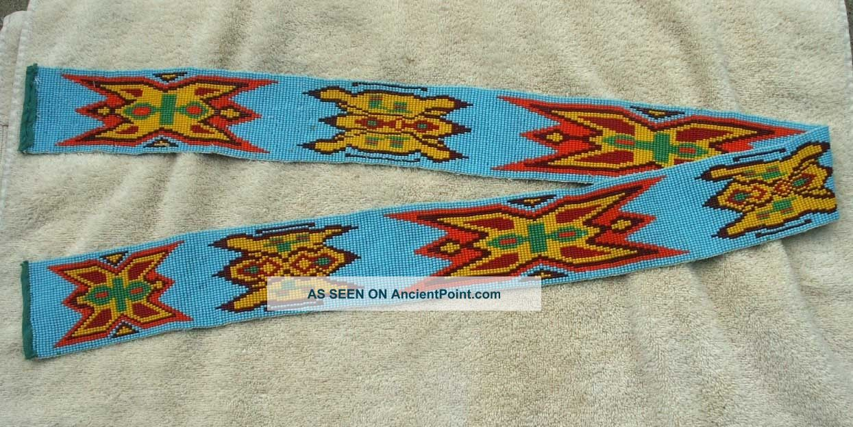 Antique Chippewa Indian Full Beaded Wide Belt - Light Blue - Stylized Design Native American photo
