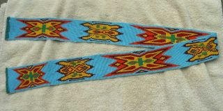 Antique Chippewa Indian Full Beaded Wide Belt - Light Blue - Stylized Design photo