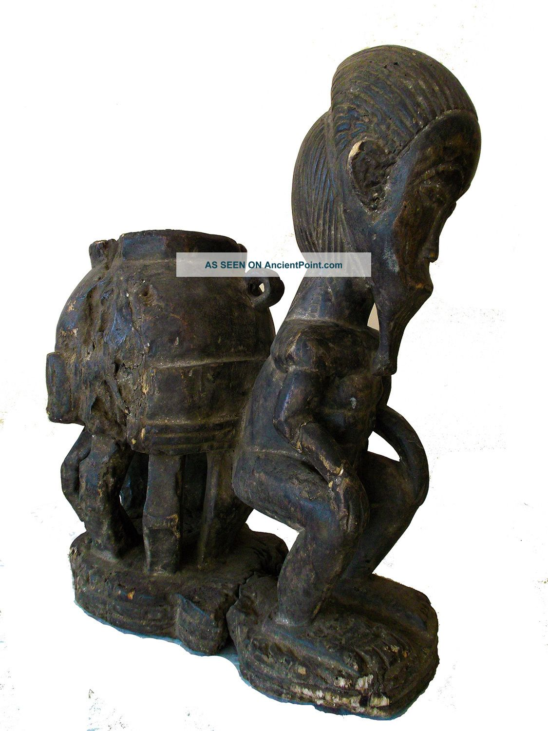 Chokwe Tribe Seated Ancestral Figure Congo Zaire Ritual African Statue Sculptures & Statues photo