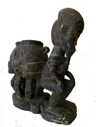 Chokwe Tribe Seated Ancestral Figure Congo Zaire Ritual African Statue photo
