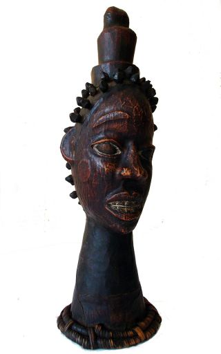 Item 001 Nigerian Ekoi Ejagham Leather Covered Ritual Tribal African Cap Mask photo