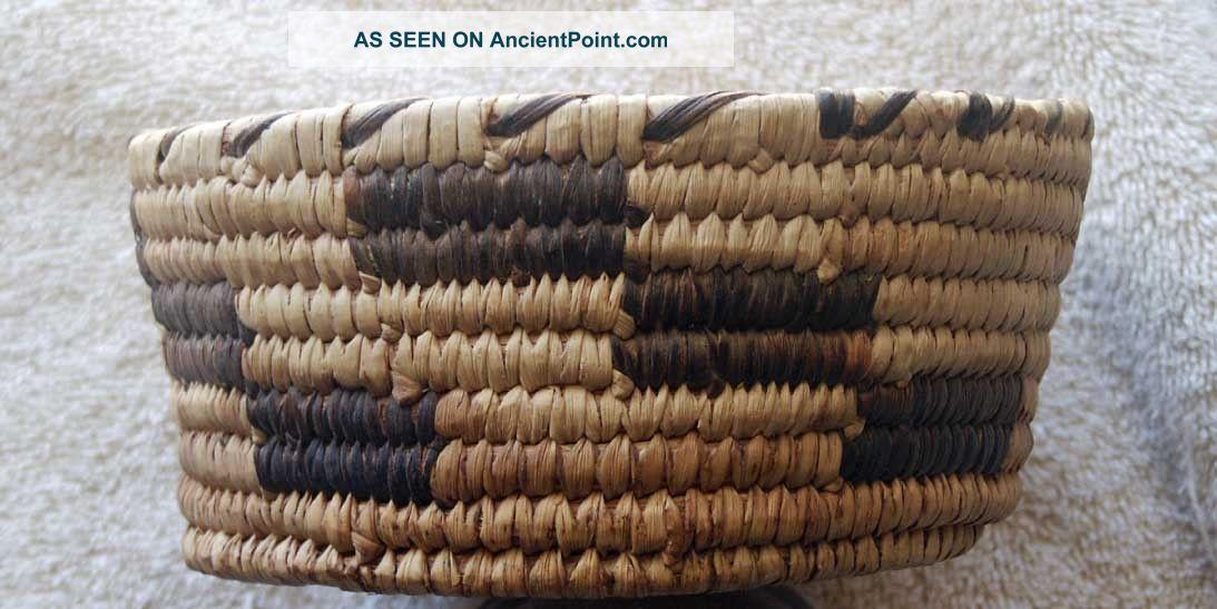 Sw Papago Indian Brown Step Design Basket - Native American photo