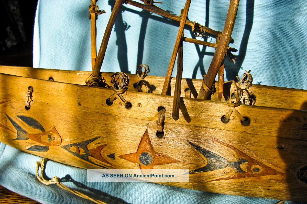 Folk Art Wood Hand Carved Boat Ship Ethenic Papua New Guinea Dated 1945 Pacific Islands & Oceania photo