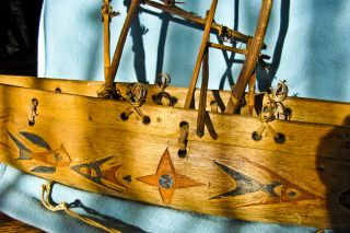 Folk Art Wood Hand Carved Boat Ship Ethenic Papua New Guinea Dated 1945 photo
