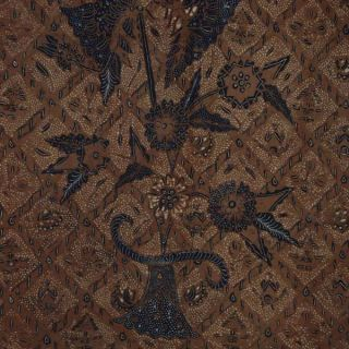 Indonesie Javanese Hand Drawn Batik Fabric Textile Clothes Wax Dye Sogan Bx31 photo