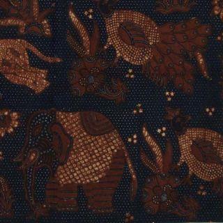 Indonesia Traditional Old Batik Fabric Textile Cloth Wax Dye Sogan Javanese Bx62 photo