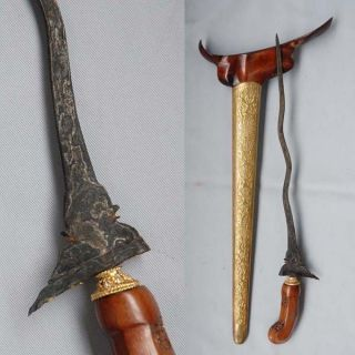 Fancy Renovation Keris 5 Luk Dragon 24 Carat Gold Indonesian Javanese Rj73 photo