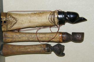 3 Old Dayak Shaman Bubalus Bone Scrimshaw Lime Betel Boxes Turtle Bear Man Bn8 photo