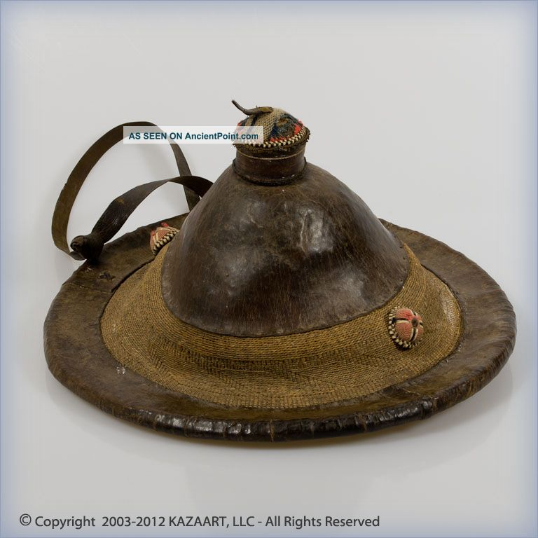 Old And Tribally Peul Or Dogon Leather & Natural Fiber Traditional Hat Mali Other photo