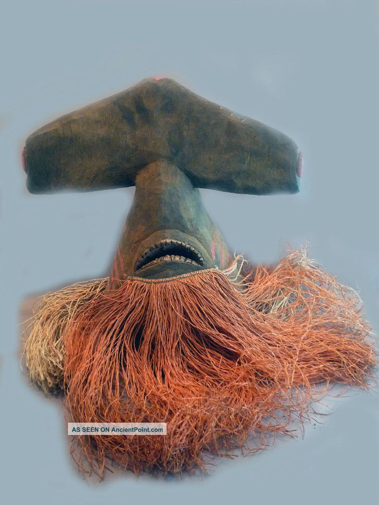 Rare Bidjogo African Wooden Animal Hammerhead Shark Mask Guinea Bissau Ethnix Other photo